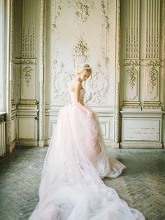 Blush pink wedding dress   Rodion Shapor Photography   see more on: http://burnettsboards.com/2015/12/fairytale-rose-quartz-wedding-inspiration/