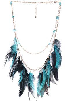 ROMWE | ROMWE Stone & Feather Pendant Green Multi-layered Necklace