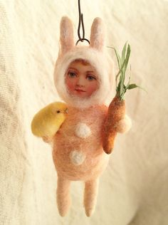 Girl in Bunny Costume ~ Spun Cotton Ornament by Arbutus Hunter
