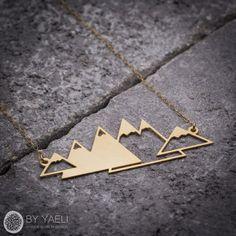 Geometric necklace mountain necklace unique necklace by ByYaeli
