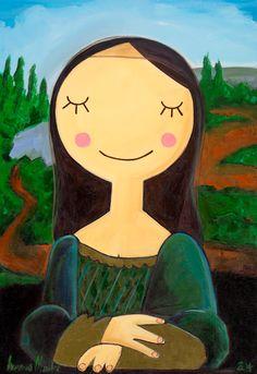 once upon the time Mona was a little girl Leonardo find her Art Drawings For Kids, Drawing For Kids, Art For Kids, Art And Illustration, Arte Pop, Mona Lisa, Posca Art, Whimsical Art, Famous Artists