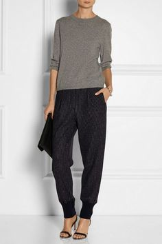 pants from 2014-2018 that are draped through the hips and thighs and fitted at the ankles | Boho Work Outfit Ideas
