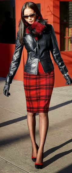 Fabulous leather jacket red scarf and outfit