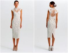 Modern white take on traditional red Chinese dress or cheongsam or qi pao. I love it! Great for small intimate asian wedding, registry and tea ceremony with family