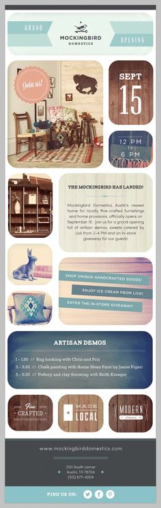 Grand Opening for Mockingbird Domestics on September 15! You are invited :)