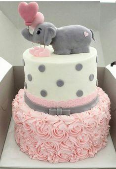 Pink ruffle elephant baby cake