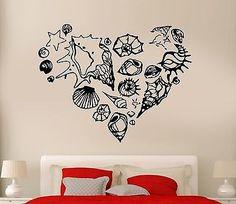 Wall Sticker Romantic Ocean Sea Marines Shell Heart Cool Art Bedroom (z2582)