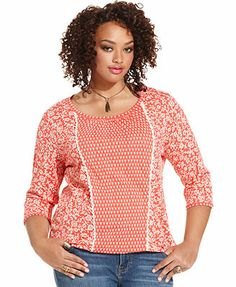 Lucky Brand Plus Size Three-Quarter-Sleeve Mixed-Print Top