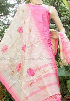 Stunning Tussar Silk dupatta and kurta fabric