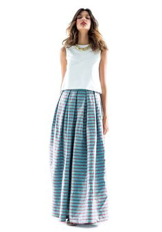 Long and wide skirt with pleats in coated linen. BUY IT NOW ON www.dezzy.it!