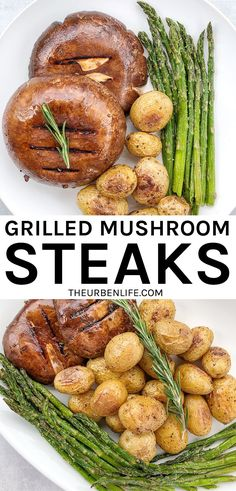 Quick and easy healthy grilled mushroom steaks. Serve with potatoes and asparagus for a filling vegan / vegetarian meal! Dairy Free Recipes, Vegan Recipes, Easy Vegan Dinner, Steak And Mushrooms, Finding Vegan, Vegetarian Meal, Recipe Community, Totally Awesome, Vegan Dishes
