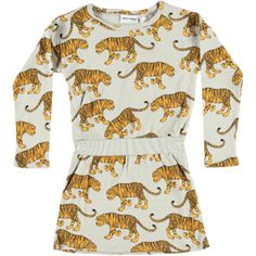 Stoere grijze jurk Tiger Grey van Mini Rodini, met grrrrrrrrrrommende tijgers! Dit fraaie design heeft een prachtige detaillering en is gemaakt van luchtig katoen.