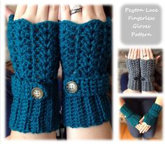 PATTERN Peyton Lace fingerless gloves crochet pattern lacey wrist warmers button strap ribbing winter instant download wrist warmers mittens