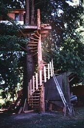 treehouse spiral staircase - so cool