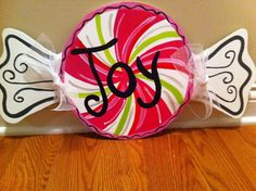 Peppermint Joy Candy Door Hanger Wooden Wreath Christmas Wood Cut Out Wall Decor on Etsy, $35.00