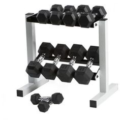 CAP 150 lb Rubber Hex Dumbbell Weight Set, 5-25 lb with Rack - Walmart.com