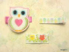 Owl  FELT HAIR CLIP  Baby Girl Hair Clips  Toddler Hair by Abbu, $5.95
