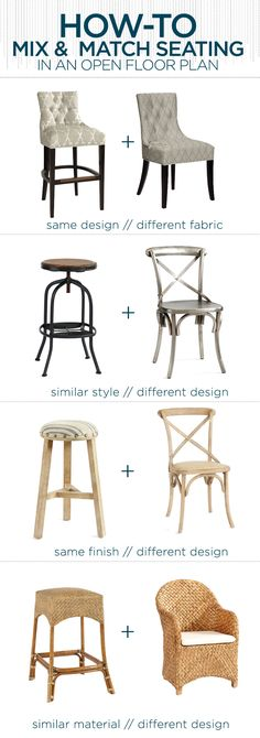 How to Mix and Match Barstools with DIning Chairs same design // different fabric, similar style // different design, same finish // different design, similar material // different design
