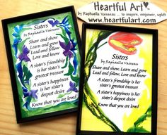 SISTERS 2x3 #MAGNET Original #Poem by Raphaella Vaisseau #Heartfulart #sister #raphaella_vaisseau #heartful_art #etsy #family #relationship #sibling #birthday