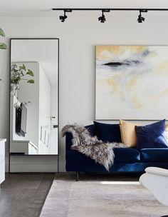 Kersti and Frank Wiedermann - The Design Files Artwork For Living Room, Living Room Sofa, Living Room Decor, Living Spaces, Brighton, Palermo, The Design Files, Velvet Sofa, Rooms Home Decor