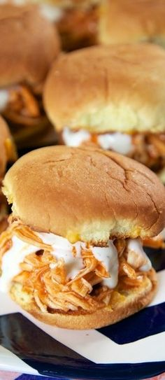 Slow Cooker Buffalo Chicken Sliders {Football Friday} | Plain Chicken