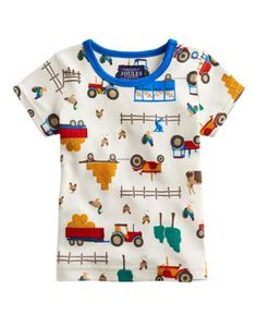 Joules Baby Boys Print T-Shirt, Cream Farm. Adorned with a new print, this terrific little t-shirt will have your little crawler looking sharp in no time. Baby Boy Outfits, Kids Outfits, Little Bird By Jools, Hippie Baby, Kids Fashion Boy, Baby Wearing, Baby Kids, Mens Tops, T Shirt