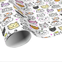 Whimsical Cat Faces Pattern Wrapping Paper and More Party Supplies at Zazzle > https://www.zazzle.com/papercrow/gifts?cg=196904653652460912    #Cats #Cat #GiftWrap #GiftWrapping