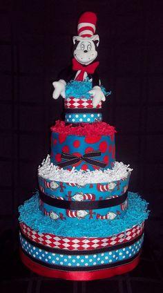Dr Seuss The Cat in the Hat Diaper Cake so cute!