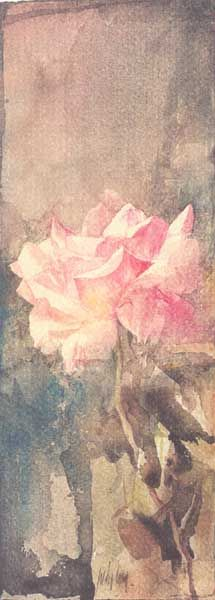 Watercolor Rose in muted tones - cuadro donado al teatro bernal ~ by pedro cano