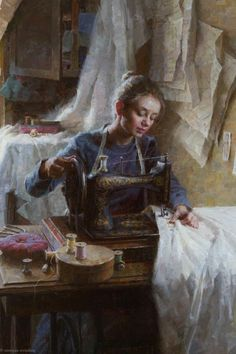 """Inset from """"The Dressmaker's Shop, 1886"""" ~ Morgan Weistling.  From The Autry Museum's """"Masters of the American West"""" showing."""