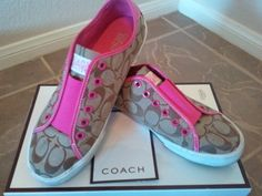 ~~~~~~ COACH Shoes~~~~~~ must have! Have these but not with the pink! Coach Tennis Shoes, Coach Shoes, The Pink Store, Cute Shoes, Me Too Shoes, Fashion Wear, Fashion Shoes, Coach Outfits, Shoe Closet