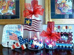 4th of #July, #glassjars, #4thofjulydecorations #redwhiteandblue