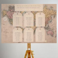 Vintage Travel map Table Plan by Rodo Creative on Etsy Printed Table Plan perfect for a couple hosting a wedding abroad or for the couple who love to travel together. This is perfect for anybody looking for a rustic table plan for their wedding, especially those who are wanting a destination table plan to match destination table names. This vintage luggage tag themed table plan is printed onto a 3mm foamed board and is available in sizes A2 and A1.