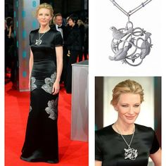 The lovely Cate Blanchett @cateblanchett during the 2014 BAFTA Awards showed a touch of her whimsical side when she donned Chopard's @chopard Animal World necklace that features a cluster of sparkling diamonds doves. Her blank canvas for the stunning necklace was an Alexander McQueen @alexandermcqueen jet-black Pre-Fall 2014 short-sleeve column gown featuring an abstract silver floral print.  #purplebyanki #diamonds #luxury #loveit #jewelry #jewelrygram #jewelrydesigner #love #jewelrydesign…