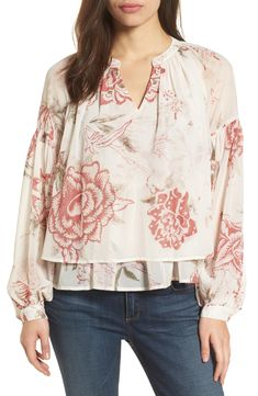 $35.73. LUCKY BRAND Top Floral Print Ruffle Hem Blouse #luckybrand #top #blouse #clothing Floral Tops, Floral Prints, Lace Inset, Lucky Brand Tops, Peasant Tops, Printed Cotton, Feminine, Blouse, Clothes