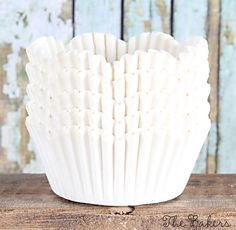 White Petal Wedding Cupcake Liners (50)
