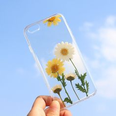 Handmade Real Pressed Flower Daisy Soft TPU Clear Case for iPhone 6 / 6S 4.7 inch