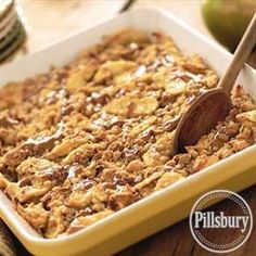Caramel Apple Crisp Recipe from Smucker's® Fall Desserts, Just Desserts, Delicious Desserts, Dessert Recipes, Yummy Food, Apple Desserts, Awesome Desserts, Sweet Desserts, Caramel Apple Crisp