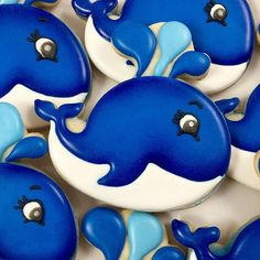 Have a whale of a Wednesday! #undertheseaparty #undertheseacookies #whalecookies #oceancookies #neworleanscookies Whale Cookies, Fish Cookies, Fancy Cookies, Iced Cookies, Cut Out Cookies, Cute Cookies, Cupcake Cookies, Square Cookies, Cookie Frosting