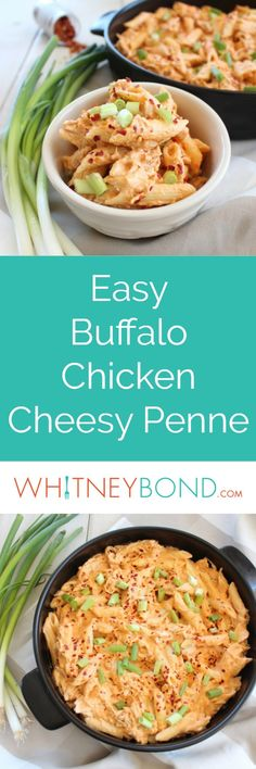 Shredded chicken is added to a spicy, cheesy buffalo sauce and tossed with penne pasta in this creamy, delicious Buffalo Chicken Cheesy Penne Recipe, made in only 29 minutes!