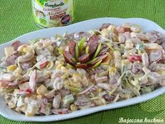 Bajeczna Kuchnia: Pikantna sałatka z kabanosem Coleslaw, Food Design, Pasta Salad, Potato Salad, Grilling, Food And Drink, Menu, Healthy Recipes, Chicken