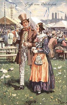 Oktoberfest 1810 Muenchen Trachten Bier Kat. Feiern und