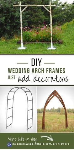 Different options for DIY wedding arch frames when creating a wedding arbor. See buy links as well as other ideas for DIY wedding flowers. Read it on the MyOnlineWeddingHelp.com blog. Diy Wedding Flowers, Wedding Crafts, Diy Flowers, Fabric Flowers, Budget Wedding, Fall Wedding, Wedding Reception, Wedding Planning, Reception Ideas
