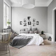 gray bedroom with pop of color Nordic Bedrooms - Quintessential Modern Minimalist Scandinavian Bedroom Swedish Bedroom, Nordic Bedroom, Gray Bedroom, Home Decor Bedroom, Modern Bedroom, Bedroom Furniture, Living Room Decor, Bedroom Ideas, Trendy Bedroom