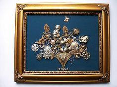 Framed Vintage Jewelry Art Floral - RHAPSODY IN BLUE