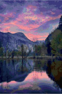 Yosemite Sunrise over Water Cross Stitch pattern  PDF - EASY chart with one color per sheet AND traditional chart! Two charts in one! by HeritageCharts on Etsy
