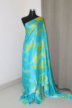 Shibori pure silk satin saree 100 percent pure silk grams) Blouse option available. Blouse colour can be customised. Can be customised into any colours. Shibori Sarees, Crepe Silk Sarees, Kota Silk Saree, Raw Silk Saree, Satin Saree, Tussar Silk Saree, Georgette Fabric, Pure Silk Sarees, Silk Crepe