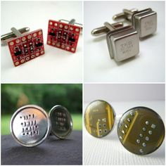 eco chic, earth friendly, green wedding, recycled, upcycled, circuit board, computer chip, binary, geek chic, computers, weddings, cuff links, recycled, upcycled