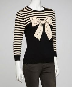 Take a look at this Black & Beige Stripe Bow Top on zulily today!