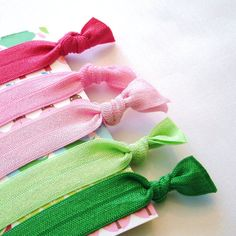 Hair Ties. Preppy Pink and Green  by PolkaDotSkies